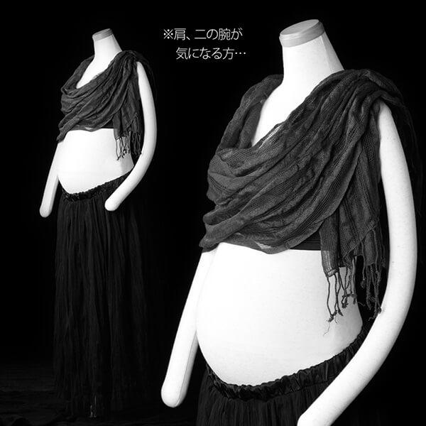 チューブトップレースと柔らかい黒のロングスカート+アレンジ-②